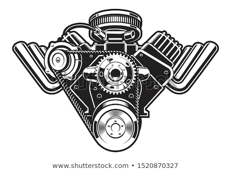 Foto stock: Vector Cartoon Turbo Engine Isolated In Black Background