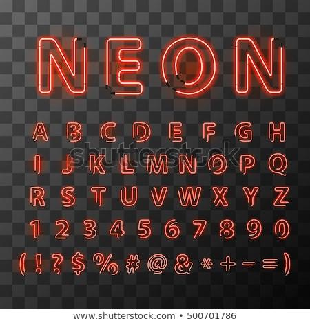 ярко · красный · неоновых · письма · шрифт · прозрачный - Сток-фото © Evgeny89
