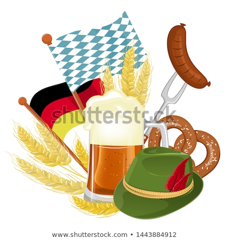 Oktoberfest party poster illustration with fresh lager beer, pretzel, sausage and wheat on blue and  Stock photo © articular