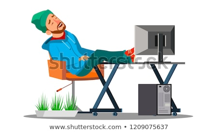 férfi · alszik · munkahely · fáradt · alkalmazott · laptop · billentyűzet - stock fotó © pikepicture
