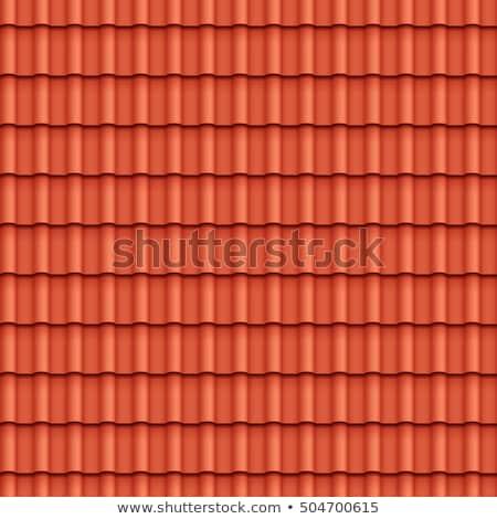eski · çatı · fayans · kırmızı · ev · doku - stok fotoğraf © boggy