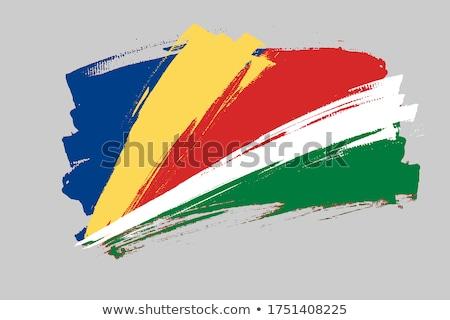 Seszele banderą biały tle metal podpisania Zdjęcia stock © butenkow