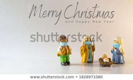 nativity scene and text merry christmas stock photo © nito