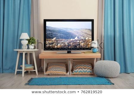 Düz ekran tv oturma odası modern durmak ev Stok fotoğraf © magraphics