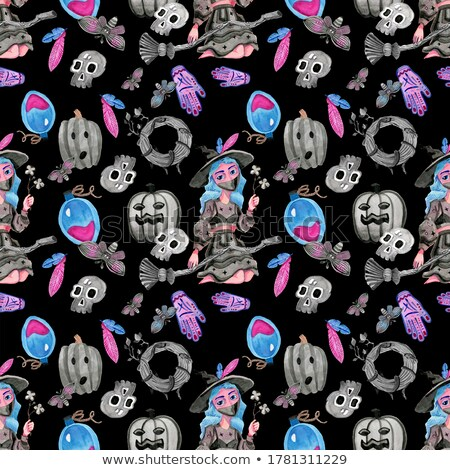 skull cartoon style seamless pattern head of skeleton backgroun stock photo © maryvalery
