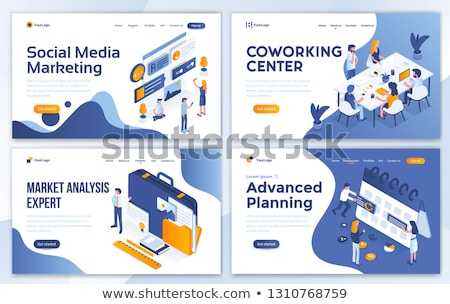 social media marketing   modern colorful isometric vector illustration stock photo © decorwithme