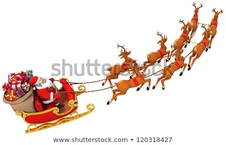 Sanki christmas przedstawia dekoracje renifer 3D Zdjęcia stock © djmilic