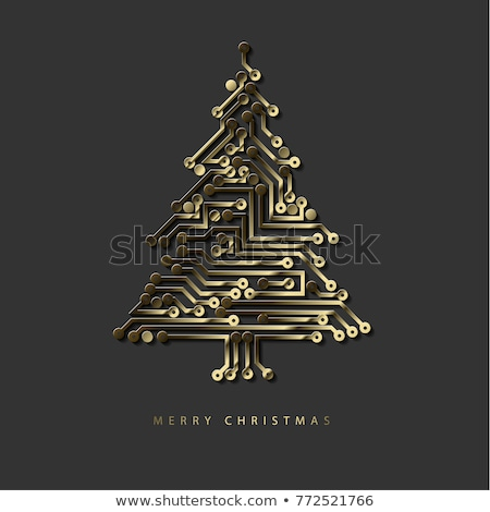 Vector christmas tree from golden digital electronic circuit Stock photo © orson