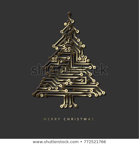 Vektor · Weihnachtsbaum · digitalen · elektronischen · Schaltung · blau - stock foto © orson