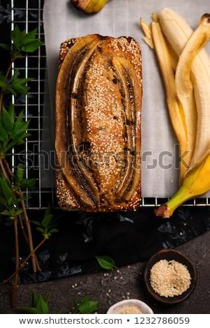 Vegan banana tahini and chocolate  bread.style vintage Stock photo © zoryanchik