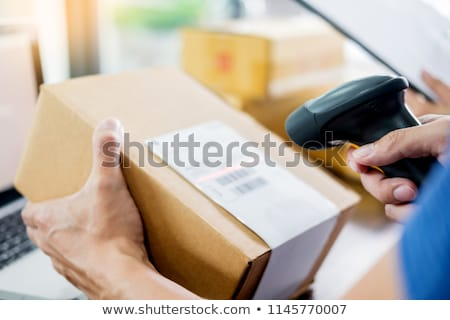 Stock foto: Courier Hands Business Woman Work At Home Office Checking Parcel