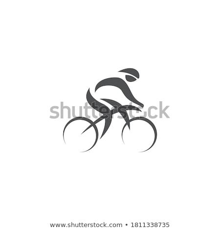 Stock fotó: Minimális · logo · férfi · lovaglás · bicikli · fekete