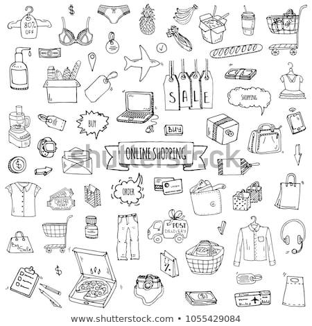 maison · à · l'intérieur · dessinés · à · la · main · doodle · icône - photo stock © rastudio