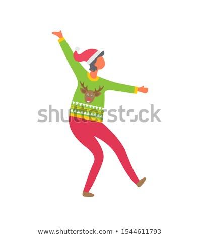 Kadın kazak ren geyiği pembe pantolon noel baba Stok fotoğraf © robuart
