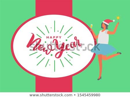 明けましておめでとうございます ポスター 女性 スカート ガラス ワイン ストックフォト © robuart