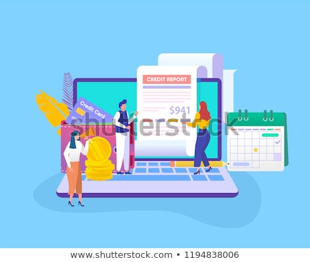Flat isometric vector landing page template of credit score information. Stock photo © TarikVision