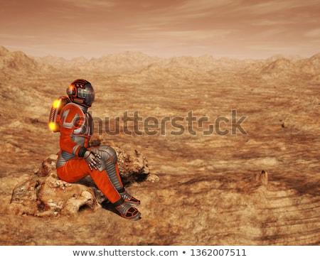 Scena statek kosmiczny planet ilustracja charakter krajobraz Zdjęcia stock © colematt