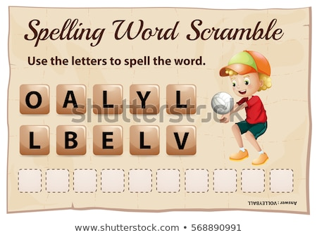 spelling word scramble game template with word volleyball stock photo © colematt