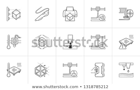 Сток-фото: 3d Printing Nozzle Hand Drawn Outline Doodle Icon