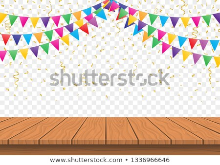 Wooden presentation board top with Colorful Flags with Confetti background vector Stock photo © Andrei_