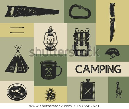 Camping icons set in silhouette retro style. Monochrome travel symbols, hiking shapes with tent, saw Stock photo © JeksonGraphics