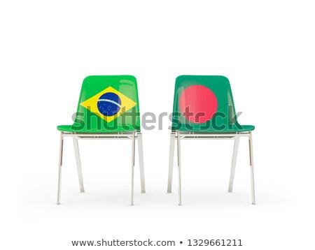 Twee stoelen vlaggen Brazilië Bangladesh geïsoleerd Stockfoto © MikhailMishchenko