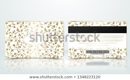 vector template of membership or loyalty white vip card with luxury elegant golden floral pattern stock photo © iaroslava