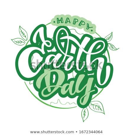 Boldog föld napja 22 kártya zöld levelek szalag Stock fotó © MarySan