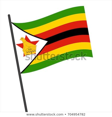 Zimbabwe vlag witte groot ingesteld frame Stockfoto © butenkow