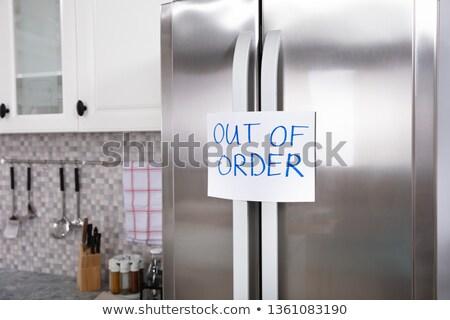 Dışarı sipariş metin buzdolabı yazılı Stok fotoğraf © AndreyPopov