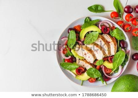 Szpinak Sałatka świeże ogród salaterki kamień Zdjęcia stock © karandaev