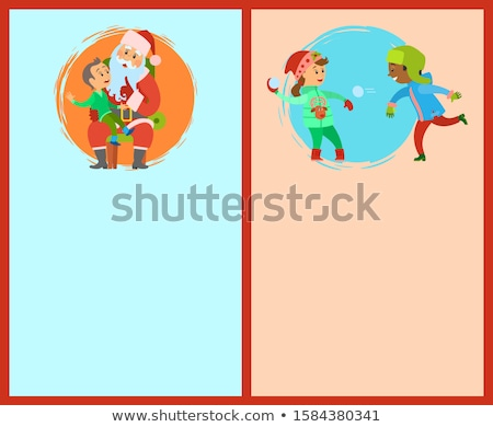 Conversation with Santa, Snowball Fights Postcards Stock photo © robuart