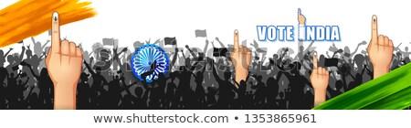 demokrácia · kéz · szavazás · weboldal · szalag · sablon - stock fotó © vectomart