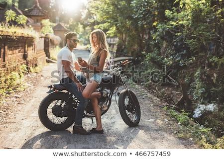 Alegre sessão juntos motocicleta rua Foto stock © deandrobot