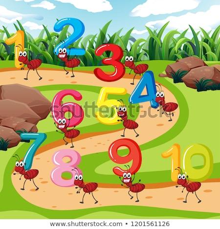 Tíz hangya szállít szám illusztráció fű Stock fotó © colematt
