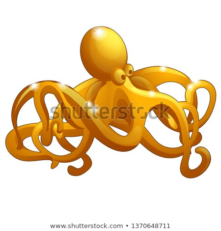 The figure of the octopus made of gold isolated on white background. Vector cartoon close-up illustr Stock photo © Lady-Luck