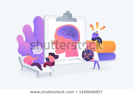 Patient At Psychiatry Counseling, Psychotherapy Cartoon Character Stockfoto © pikepicture