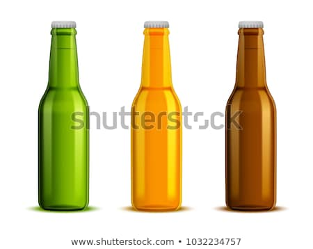 Realistic Bottle And Glass With Bubble Beer Vector Сток-фото © pikepicture