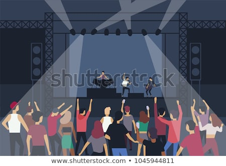 Concert Girl Singing on Stage, Dancing Fans Vector Stock photo © robuart