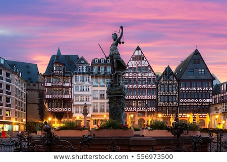 Architectuur Frankfurt huis straat kerk Blauw Stockfoto © benkrut