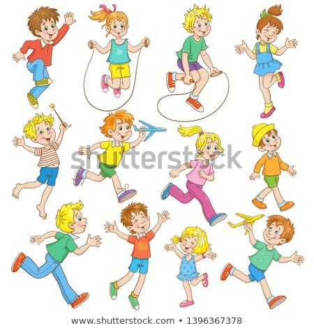 Ingesteld jongen touw verschillend grafisch ontwerp illustratie Stockfoto © colematt