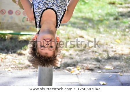 Sevimli erkek ters oyun alanı kız mutlu Stok fotoğraf © Lopolo