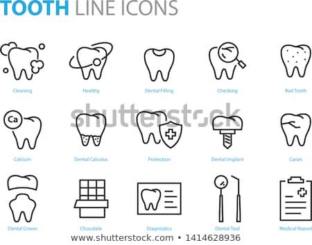 tand · tanden · iconen · zwarte · glimlach · gezondheid - stockfoto © netkov1