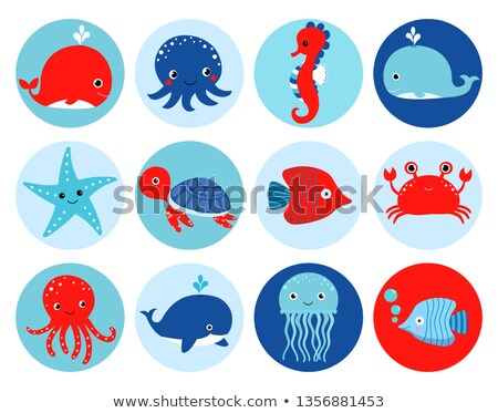 Cute Red And Blue Vector Ocean Themed Icons Or Stickers Stockfoto © Pravokrugulnik