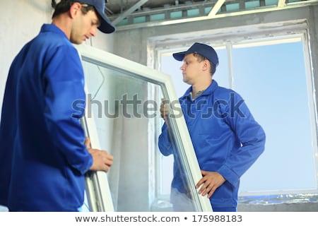Kettő dolgozik bent ház épület fa Stock fotó © Elnur