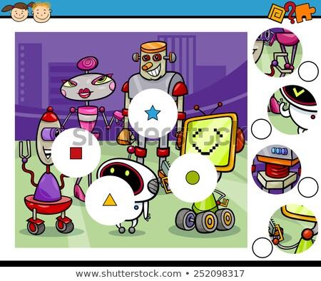 match pieces puzzle with comic robots Stock photo © izakowski