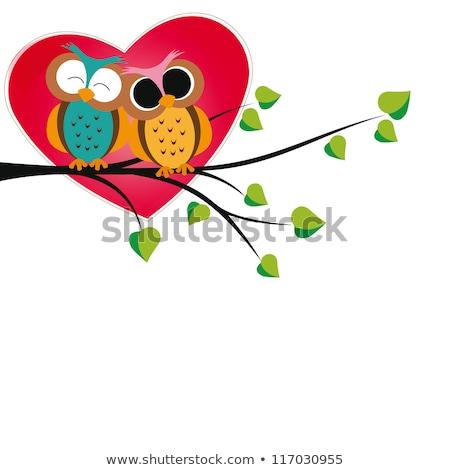 Cartoon uil hart illustratie Valentijn dag Stockfoto © rwgusev