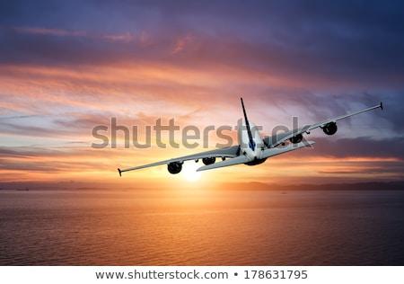 Сток-фото: Night Flight Jet Aircraft Over The Sea At Dusk