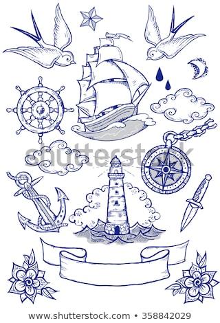 âncora barco navio tatuagem desenho bandeira Foto stock © Krisdog