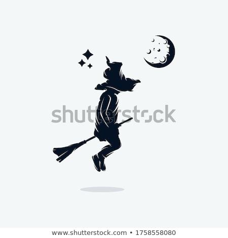 Engraçado pequeno bruxa voador cabo de vassoura folha Foto stock © user_10003441